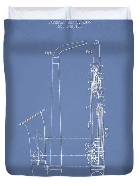 Saxophone Patent Drawing From 1899 - Light Blue Duvet Cover by Aged Pixel