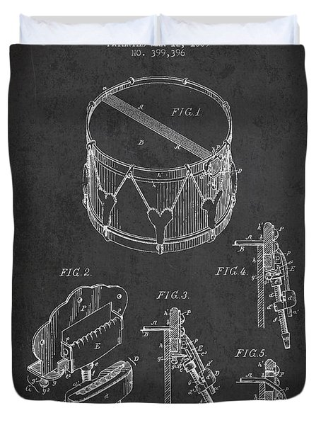 Vintage Snare Drum Patent Drawing From 1889 - Dark Duvet Cover by Aged Pixel