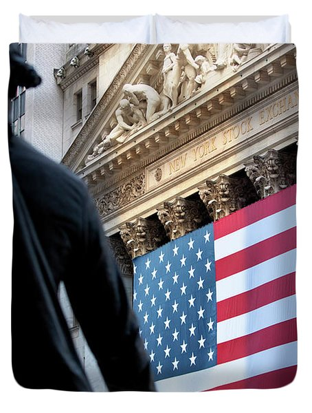 Duvet Cover featuring the photograph Wall Street Flag by Brian Jannsen