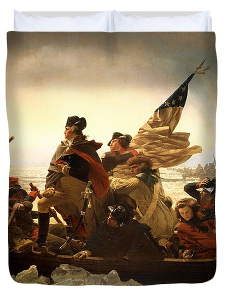 Duvet Cover featuring the photograph Washington Crossing The Delaware by Emanuel Leutze