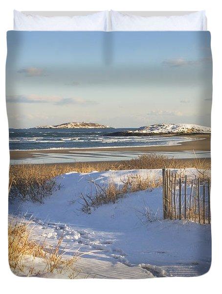 Winter At Popham Beach State Park Maine Duvet Cover