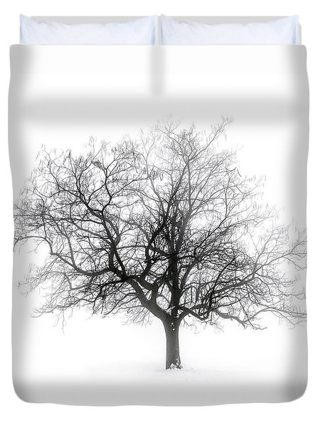 Winter Tree In Fog Duvet Cover