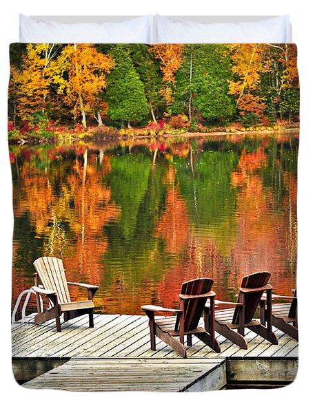 Wooden Dock On Autumn Lake Duvet Cover by Elena Elisseeva