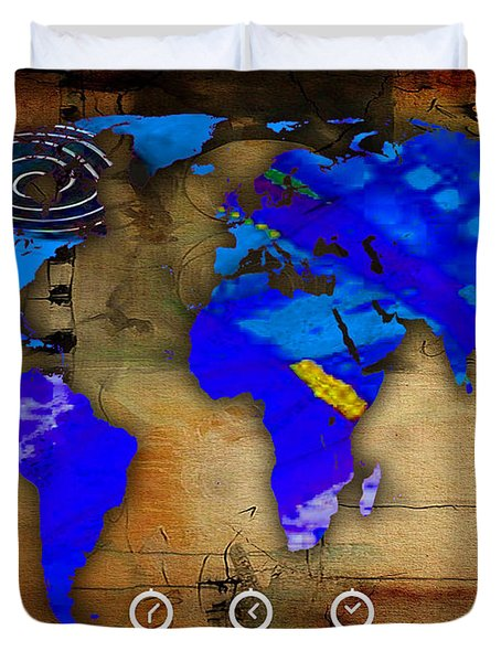 World Map Watercolor Duvet Cover by Marvin Blaine