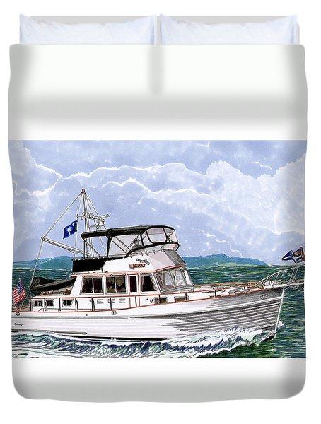 42 Foot Grand Banks Motoryacht Duvet Cover by Jack Pumphrey