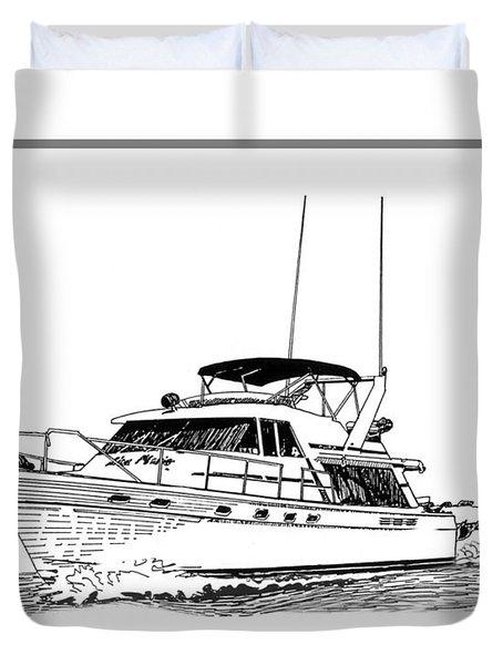 45 Foot Bayliner Motoryacht Duvet Cover by Jack Pumphrey