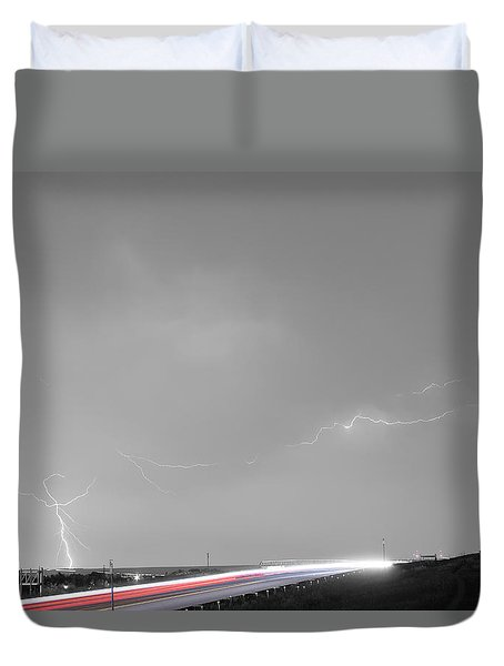 47 Street Lightning Storm Light Trails View Bwsc Duvet Cover by James BO  Insogna