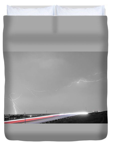 47 Street Lightning Storm Light Trails View Panorama Duvet Cover by James BO  Insogna
