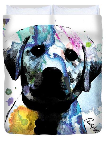 48x44 Labrador Puppy Dog Art- Huge Signed Art Abstract Paintings Modern Www.splashyartist.com Duvet Cover
