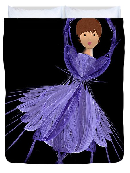 5 Blue Ballerina Duvet Cover by Andee Design