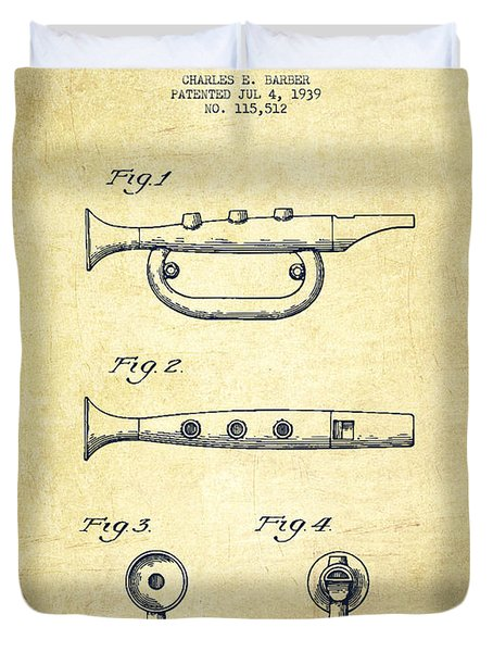 Bugle Call Instrument Patent Drawing From 1939 - Vintage Duvet Cover by Aged Pixel