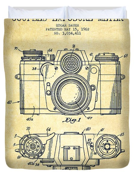 Camera Patent Drawing From 1962 Duvet Cover