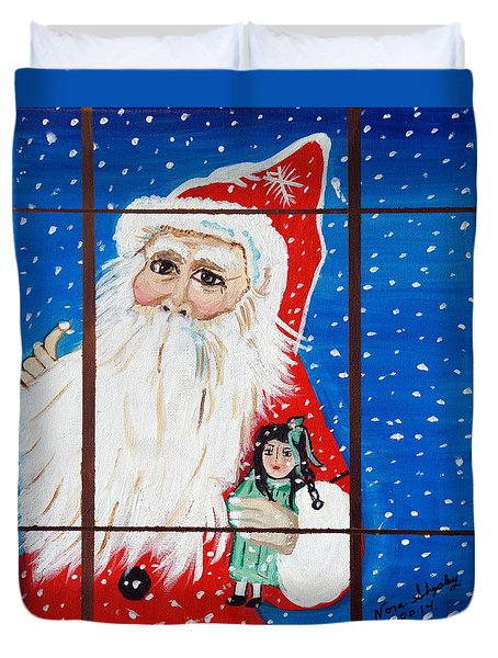 Duvet Cover featuring the painting Christmas Card by Nora Shepley
