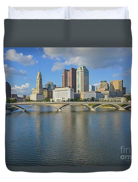 Fx1l-802 Columbus Ohio Skyline Photo Duvet Cover