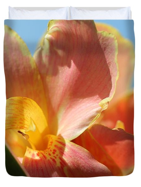 Dwarf Canna Lily Named Corsica Duvet Cover by J McCombie