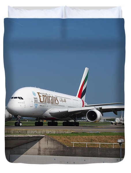 Emirates Airbus A380 Duvet Cover by Paul Fearn