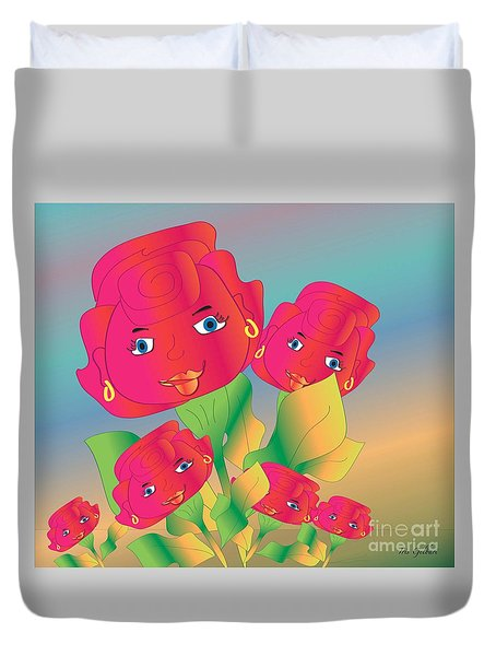 Duvet Cover featuring the digital art Family by Iris Gelbart
