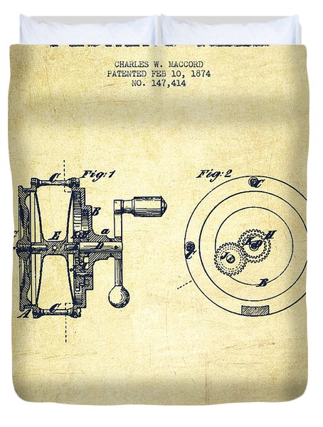 Fishing Reel Patent From 1874 Duvet Cover