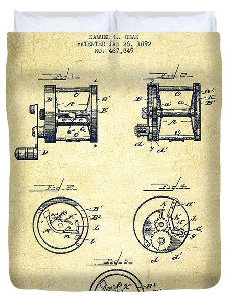 Fishing Reel Patent From 1892 Duvet Cover
