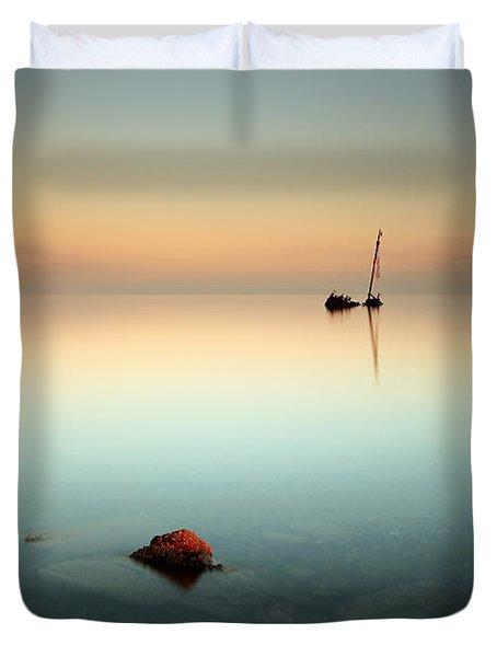Flat Calm Shipwreck  Duvet Cover