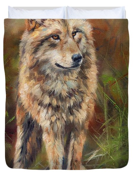 Grey Wolf Duvet Cover by David Stribbling