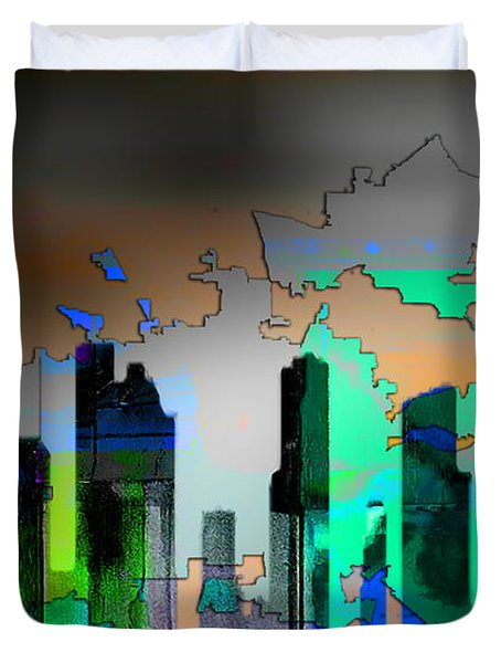 Houston Texas Map And Skyline Watercolor Duvet Cover by Marvin Blaine