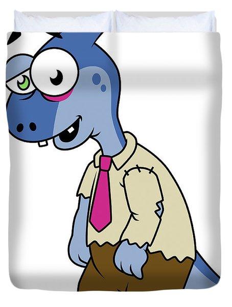 Illustration Of A Parasaurolophus Duvet Cover by Stocktrek Images