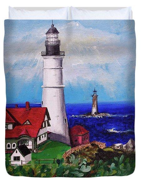 Lighthouse Hill Duvet Cover by Linda Simon