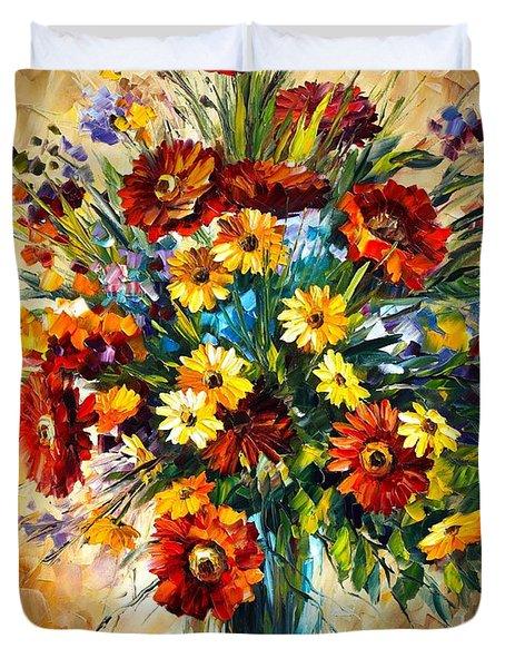 Magic Flowers Duvet Cover by Leonid Afremov