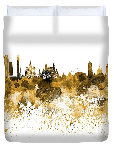 Moscow Skyline White Background Duvet Cover