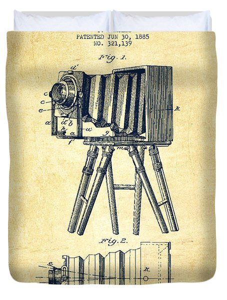 Photographic Camera Patent Drawing From 1885 Duvet Cover