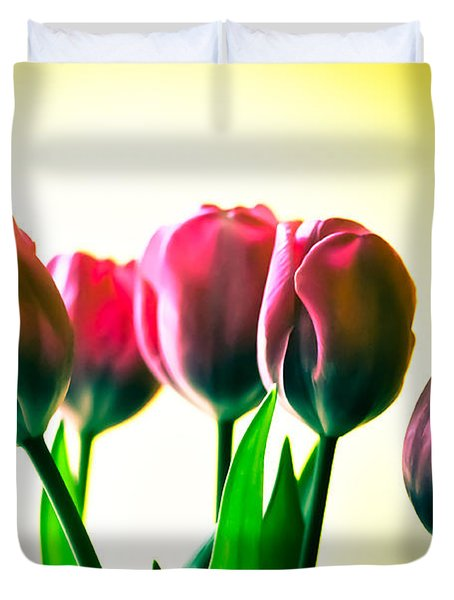 5 Pink Tulips Duvet Cover