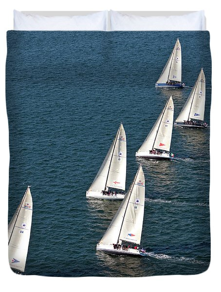 Sailboats In Swan Nyyc Invitational Duvet Cover