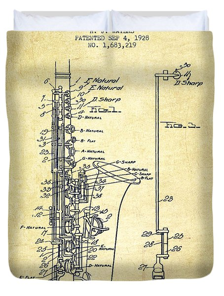 Saxophone Patent Drawing From 1928 Duvet Cover