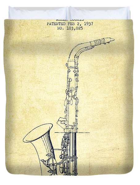 Saxophone Patent Drawing From 1937 - Vintage Duvet Cover by Aged Pixel