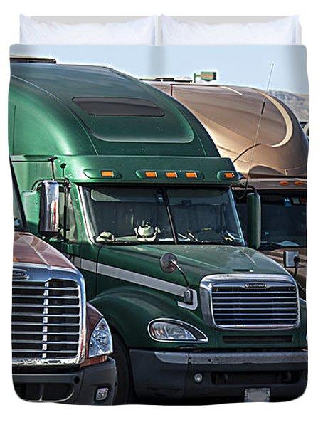 Duvet Cover featuring the photograph Semi Truck Fleet by Gunter Nezhoda