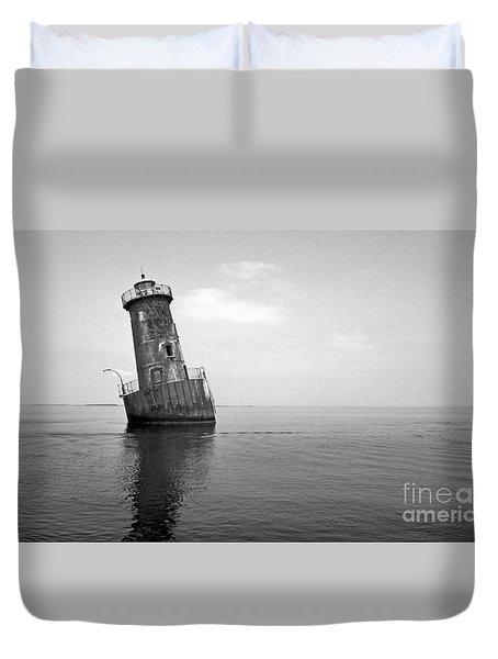 Sharps Island Lighthouse Duvet Cover by Skip Willits