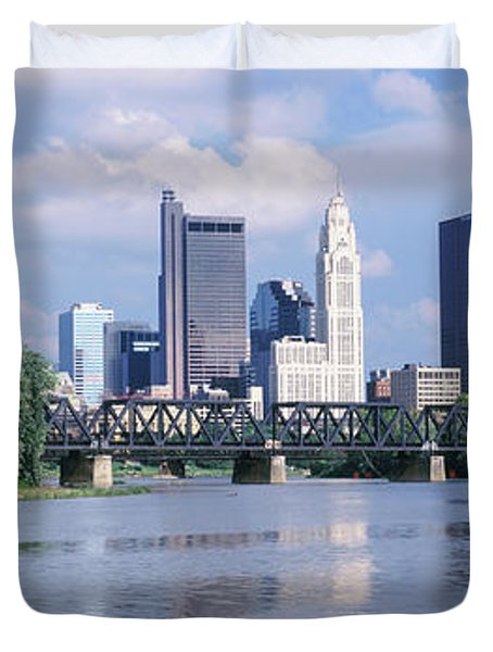Skyscrapers At The Waterfront, Scioto Duvet Cover
