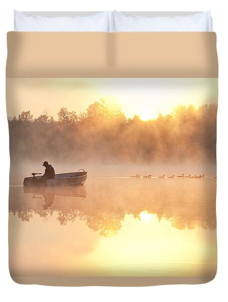 Sunrise In Fog Lake Cassidy With Fisherman In Small Fishing Boat Duvet Cover