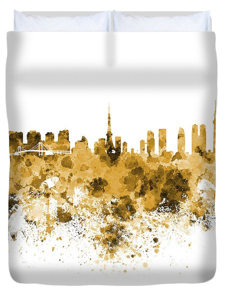 Tokyo Skyline In Watercolor On White Background Duvet Cover by Pablo Romero