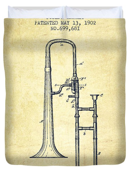 Trombone Patent From 1902 - Vintage Duvet Cover by Aged Pixel