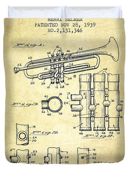 Trumpet Patent From 1939 - Vintage Duvet Cover