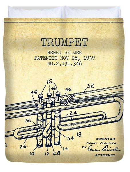 Vinatge Trumpet Patent From 1939 Duvet Cover