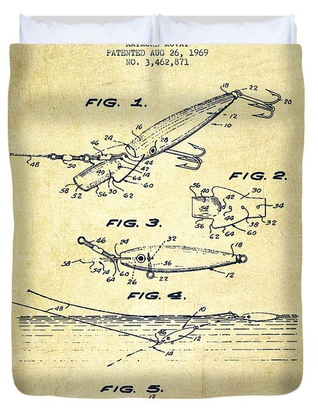 Vintage Fishing Lure Patent Drawing From 1969 Duvet Cover