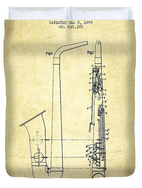 Saxophone Patent Drawing From 1899 - Vintage Duvet Cover by Aged Pixel