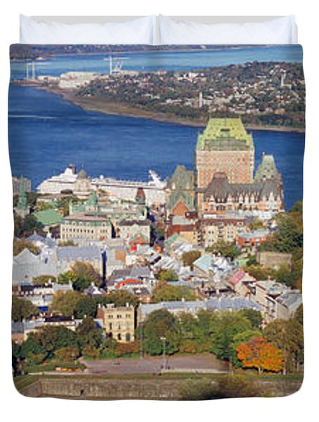 High Angle View Of Buildings In A City Duvet Cover