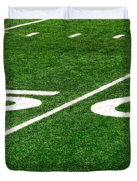 50 Yard Line On Football Field Duvet Cover by Paul Velgos