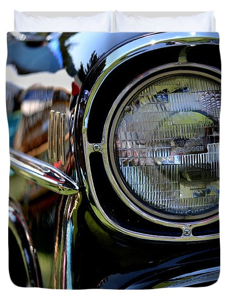 Duvet Cover featuring the photograph 50's Chevy by Dean Ferreira