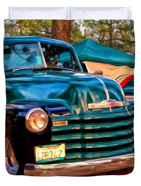 '51 Chevy Pickup With Teardrop Trailer Duvet Cover by Michael Pickett