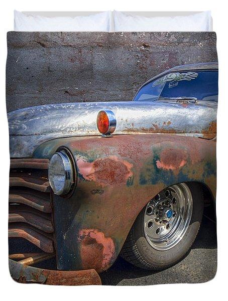 52 Chevy Truck Duvet Cover by Debra and Dave Vanderlaan